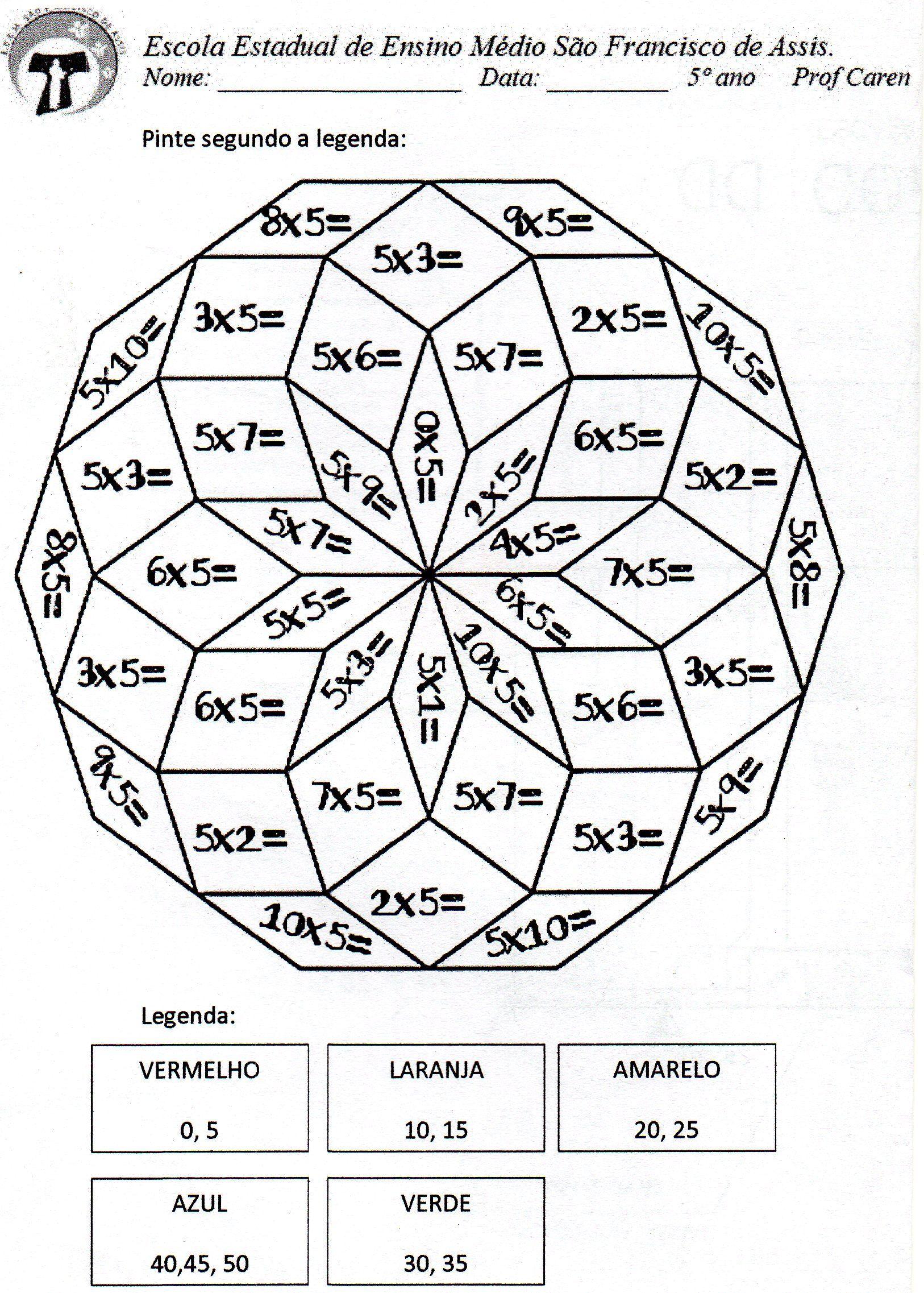 Pinte A Mandala Com Os Resultados Da Multiplicacao Do 5