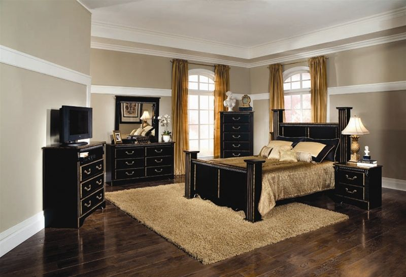 Kingsley 6 Piece Bedroom Set In Black With Brushed Gold Finish By Coaster 202121 Black Bedroom Furniture Set Affordable Bedroom Sets Bedroom Sets
