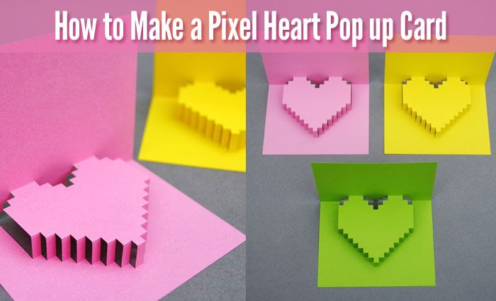 How To Make A Pixel Heart Pop Up Card For Valentine S Day Diy For Life Pop Up Card Templates Heart Pop Up Card Pixel Heart