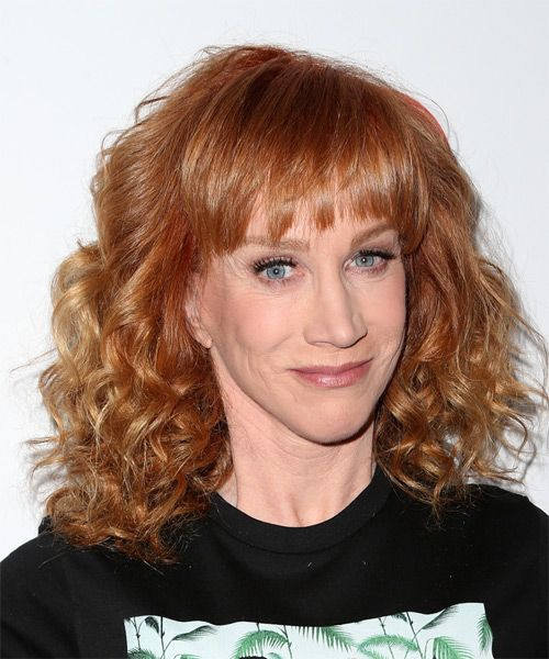 Kathy Griffin Medium Curly Ginger Red Hairstyle With Layered Bangs Hongos