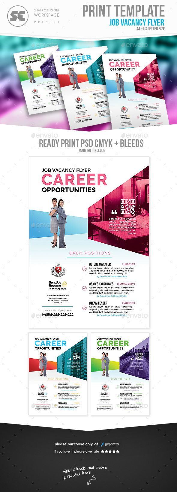 career recruitment flyer template psd