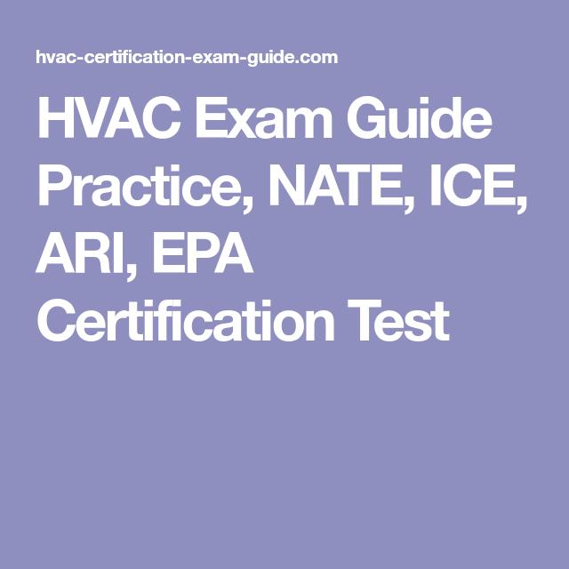 HVAC Exam Guide Practice, NATE, ICE, ARI, EPA Certification Test ...