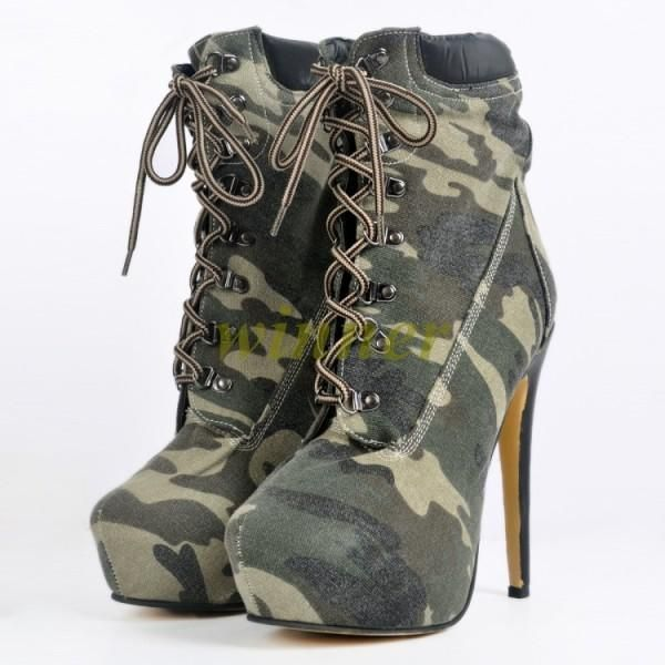 6080fbd742b34 01 Womens Ankle Boots Camo Lace Up Platform Stiletto High Heels Us Sz 4-12.5