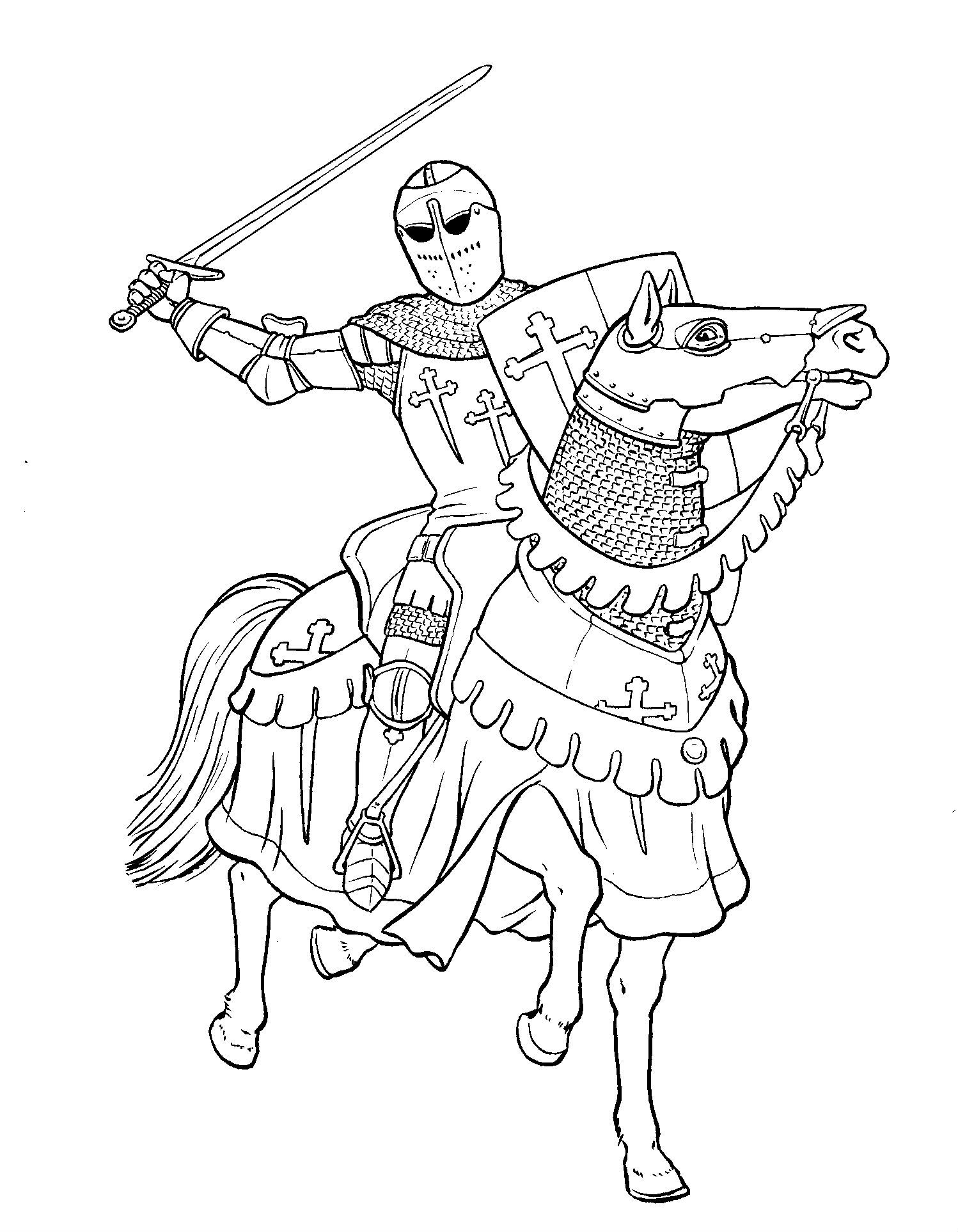 Knights Mighty Coloring Page Coloriage Dessin Dessin A Colorier