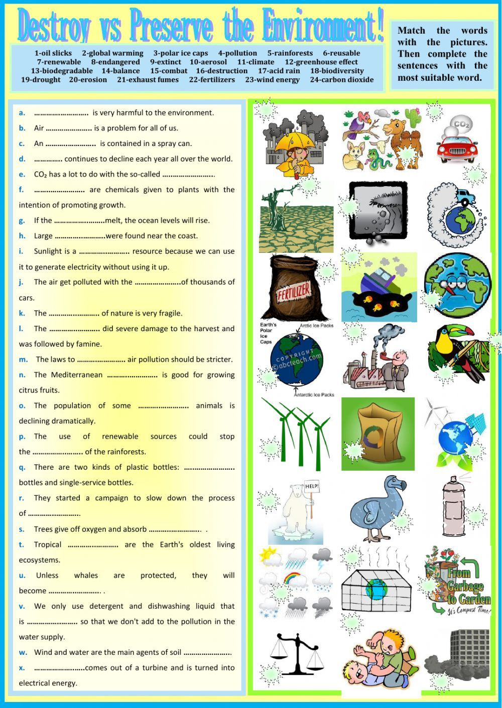 The environment interactive and downloadable worksheet
