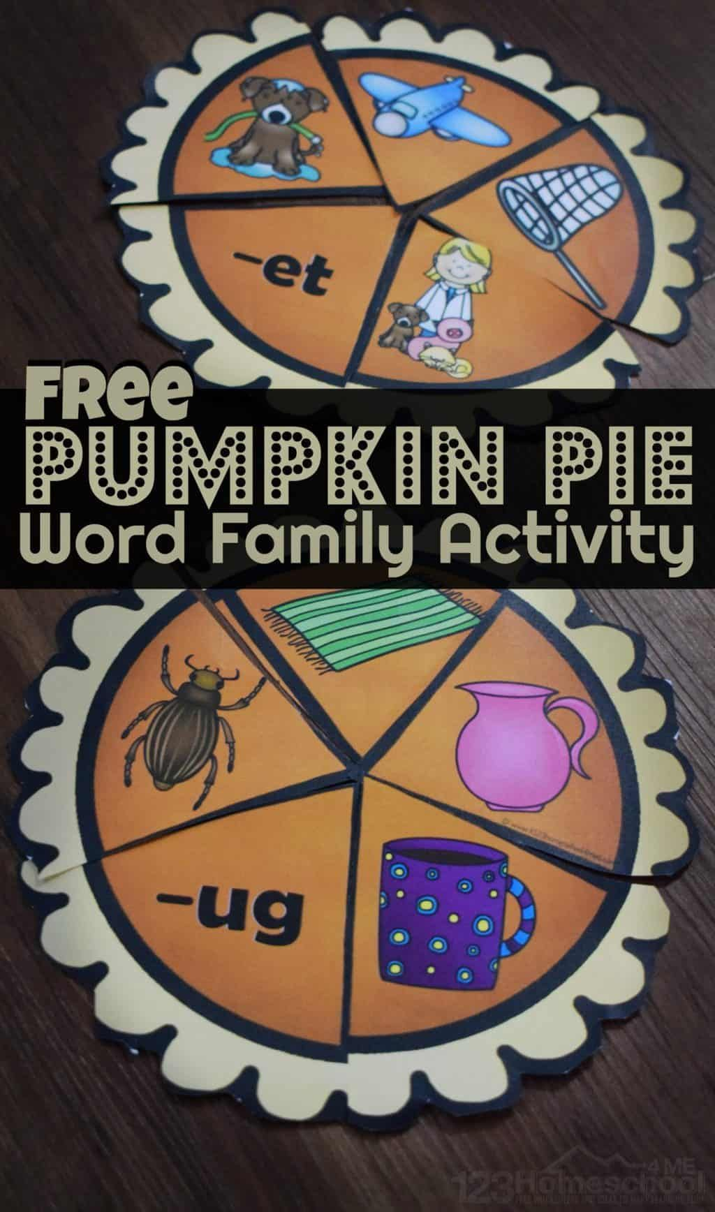 Pumpkin Pie Word Family Activities With Images