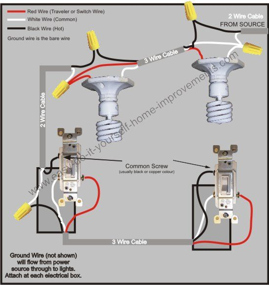 3 Way Switch Wiring Diagram | Pinterest | Diagram, Electrical wiring ...