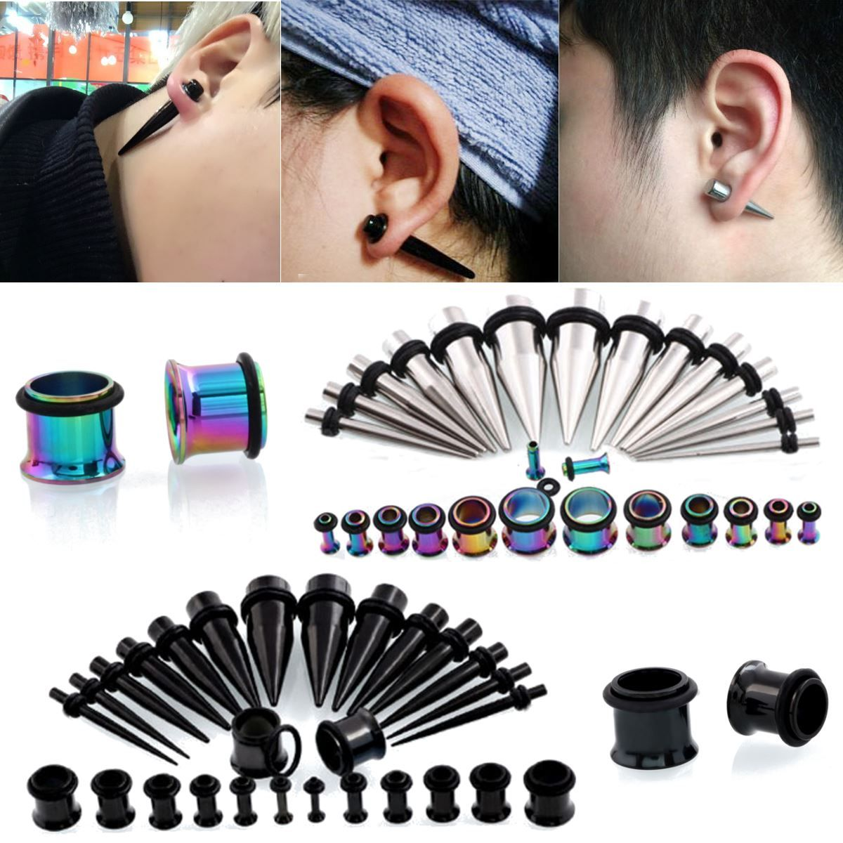 a39fec3ce check price 28pcs stainles steel ear taper stretching kit gauge expander flesh  ear plugs tunnel earlobe #gauges #ear