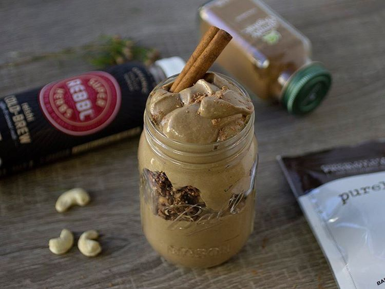 """1,262 Likes, 25 Comments - @purely_elizabeth on Instagram: """"Reishi Cold Brew Smoothie topped with Chocolate Sea Salt Probiotic Granola. Another in our series…"""""""