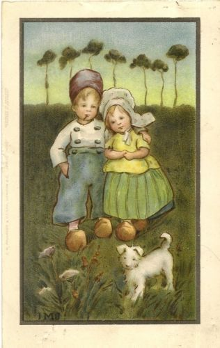 IVY MILLICENT JAMES IMJ ART DECO DUTCH CHILDREN AND DOG pu 1909 | eBay