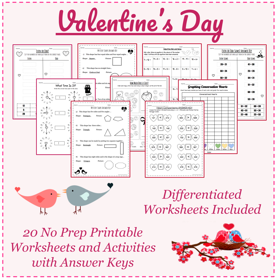 Valentine S Day Math Worksheets With Answer Keys Grades 1