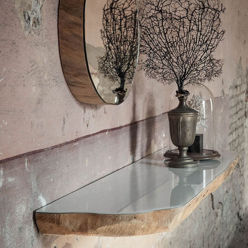 Floating Tree Trunk Shelf With A Mirrored Finish With Images Mirror Round Mirror Bathroom Mirrored Floating Shelves