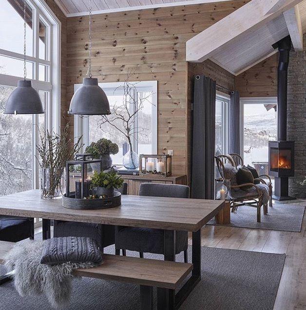 Wood paneled modern chalet skiing pinterest schweiz for Chalet modern einrichten