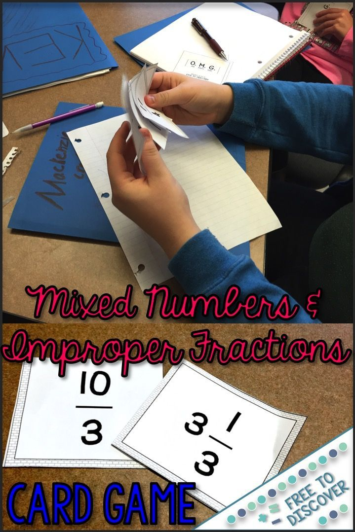 Mixed Numbers and Improper Fractions Card Game Card