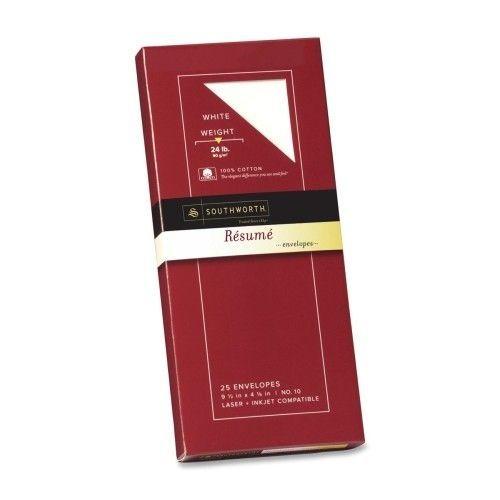 Resume Envelopes,Laser/Inkjet,No 10,24 lb.,25/PK, White