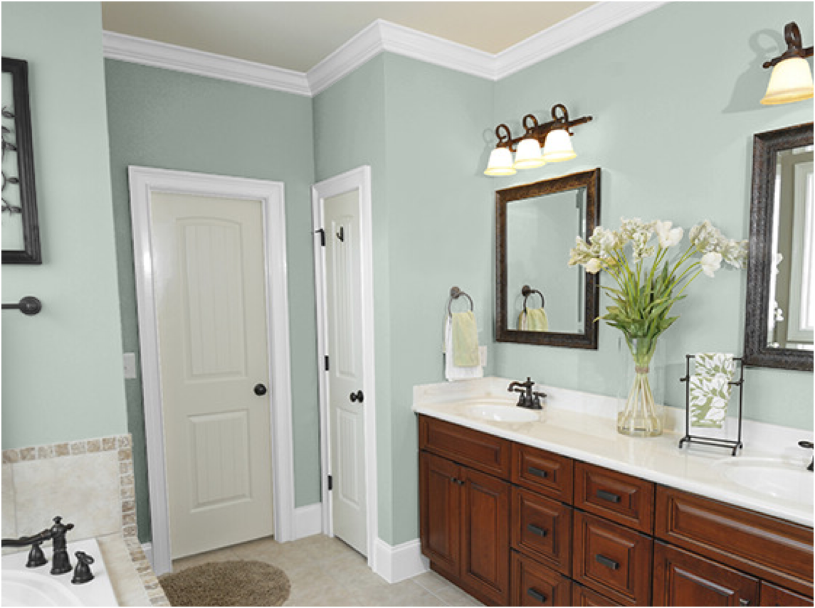 New bathroom paint colors bathroom trends 2017 2018 from Bathroom wall paint designs