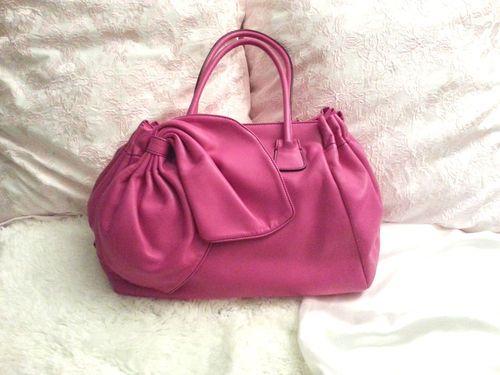 New Valentino Garavani Hot Pink Soft Genuine Leather Bow Top Handle Bag $2520 | eBay