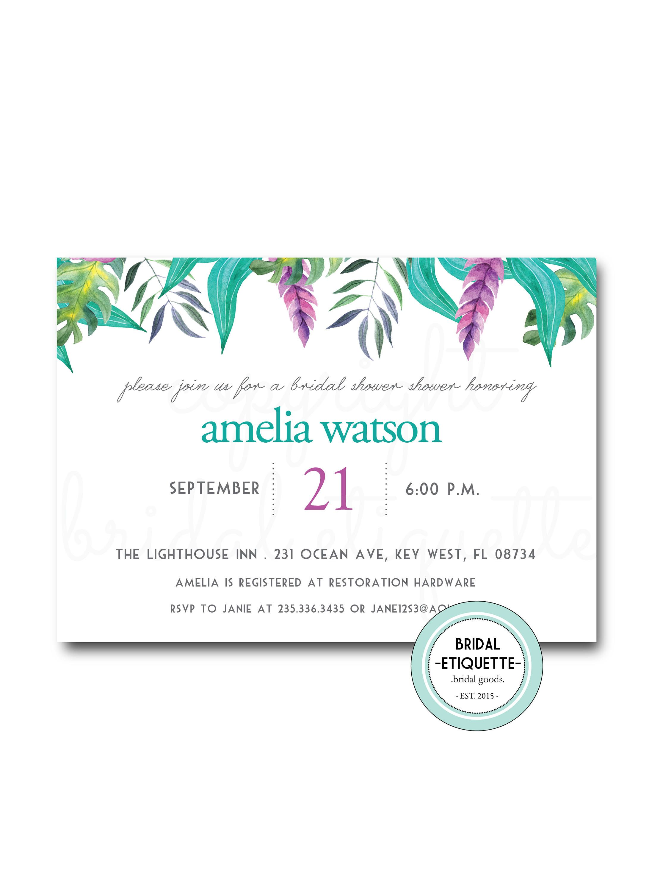 tropical bridal shower invite tropic wedding showersummer wedding shower turquoise bridal shower invitation spring bridal shower invite