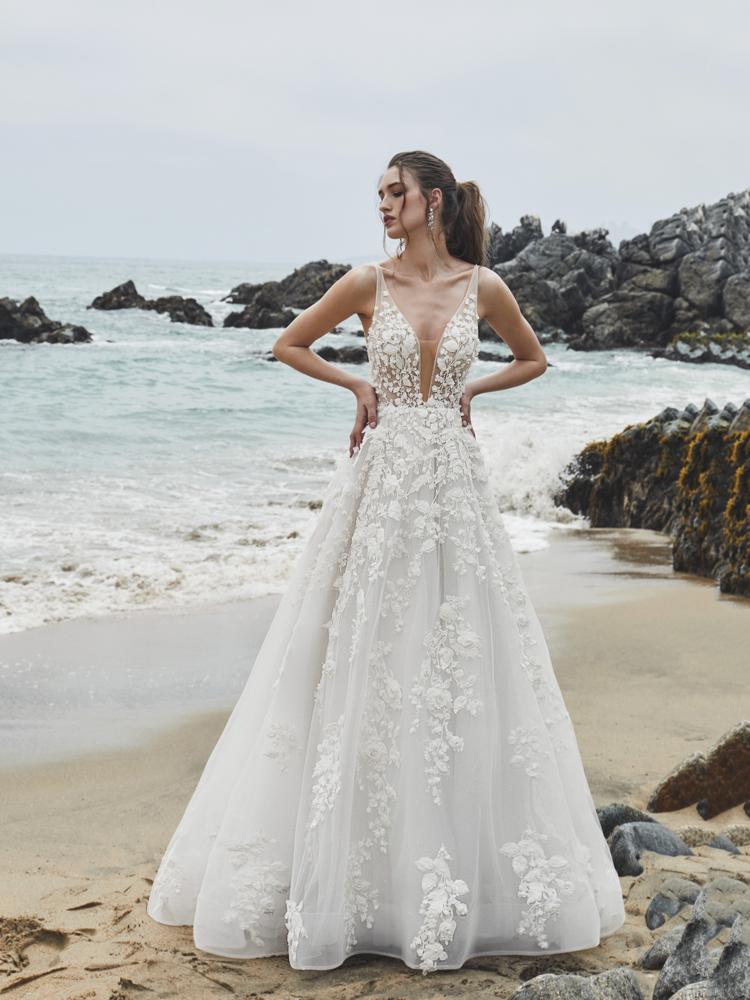 Calla Blanche Wedding Dress V Neck Ballgown Wedding Dress 3d Floral Applique Wedding Dre Sheath Wedding Dress Lace Bridal Dresses Lace Online Wedding Dress