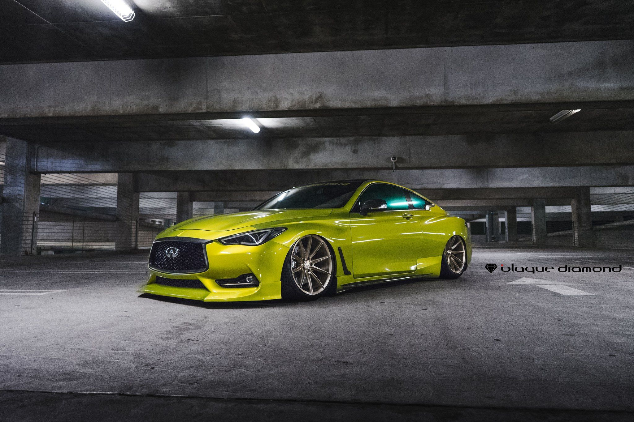 Yellow Infiniti Q60 Body Kit Bronze Blaque Diamond Wheels Awesomeness Body Kit Infiniti Car Parts And Accessories