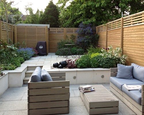 Canterbury Combi Slatted Fence Panels | Small patio design ...