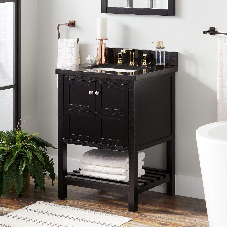 24 Everett Console Vanity For Rectangular Undermount Sink Black Bathroom Vanities Bathroom Bathroom Vanity Wood Vanity Bathroom