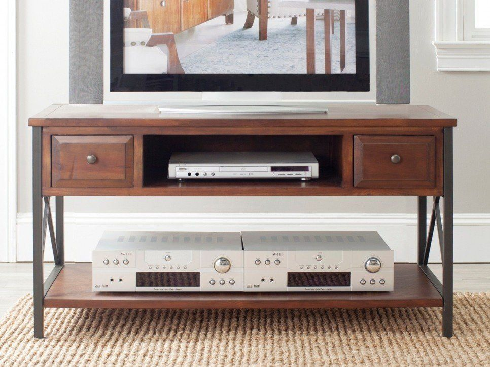 Furniture Country Style Small Wood TV Console Table With DVD