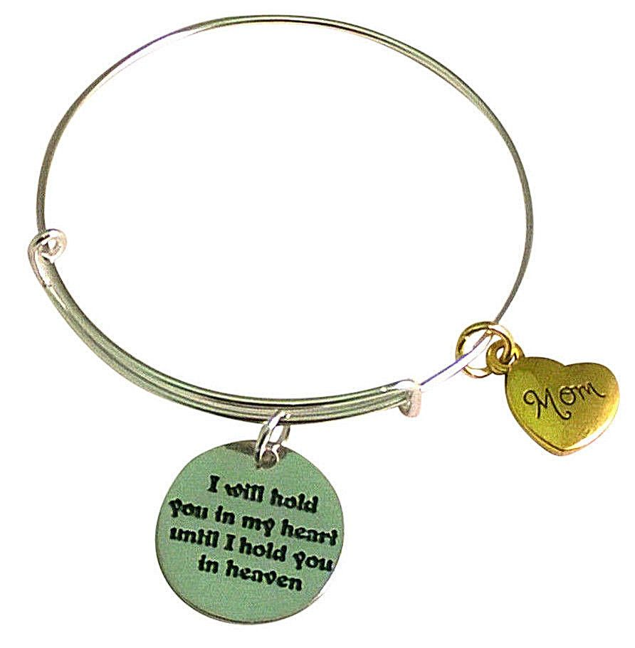 MOM In HEAVEN Adjustable Wire Charm Bracelet In Memory Loss Jewelry ...