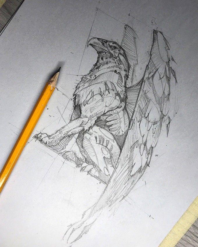 Hipogrifo Gargolas Dibujos Dibujos Y Dibujos A Lápiz