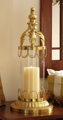 Hurricane Glass Holiday Candle Holder W/ Gold Ornate Finish