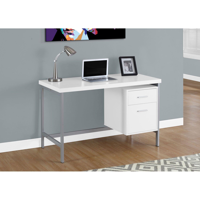 Hawthorne Ave White 48 Inch Computer Desk Bellacor Home Office Computer Desk Metal Computer Desk Metal Desk Legs