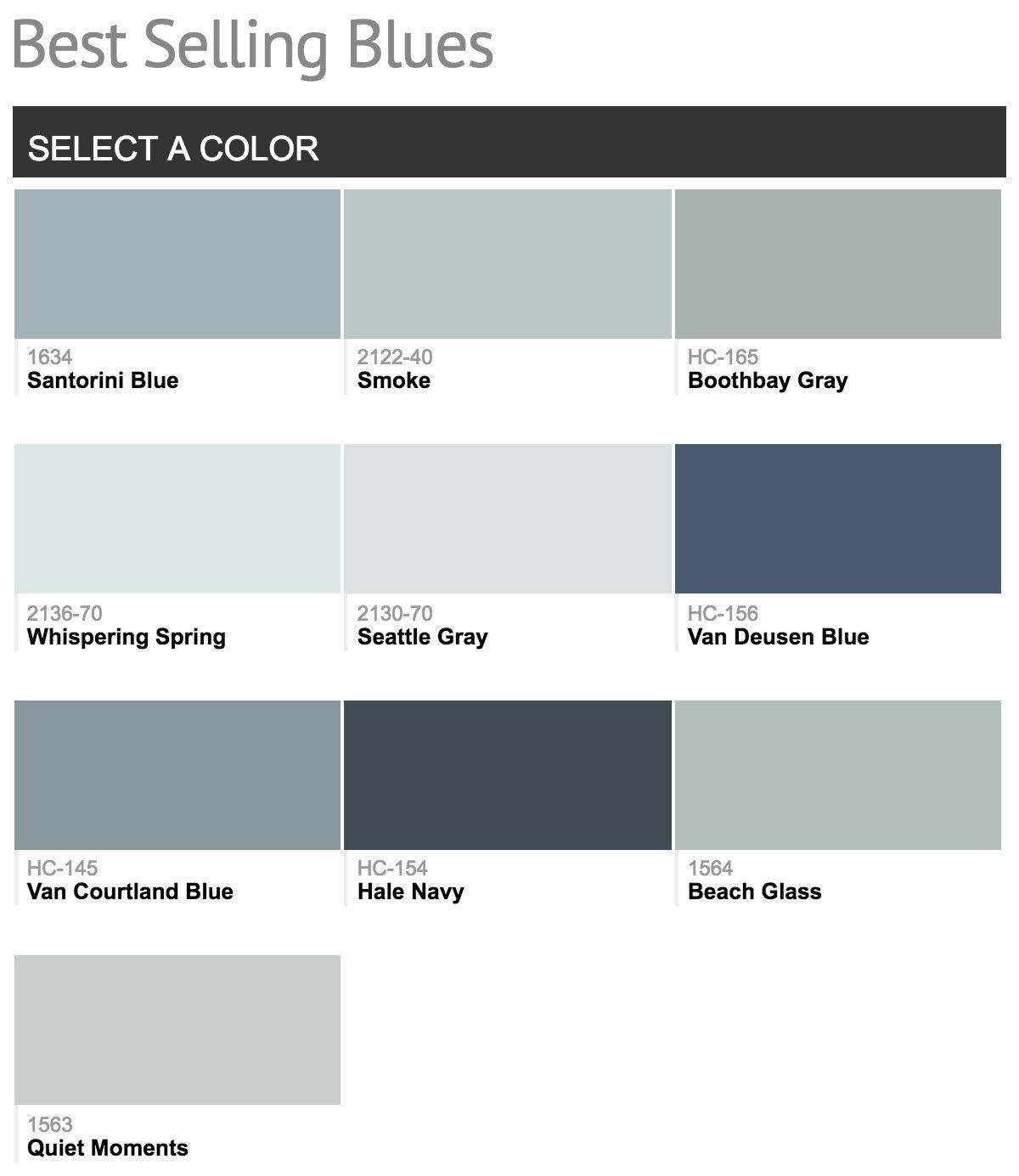 Most Popular Paint Colors Prepossessing Best Selling Benjamin Moore Paint Colors  Benjamin Moore Blue Decorating Inspiration