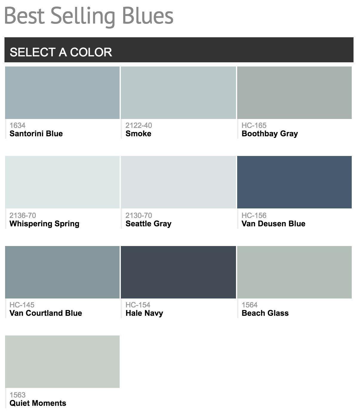 Best Selling Benjamin Moore Paint Colors  Colors