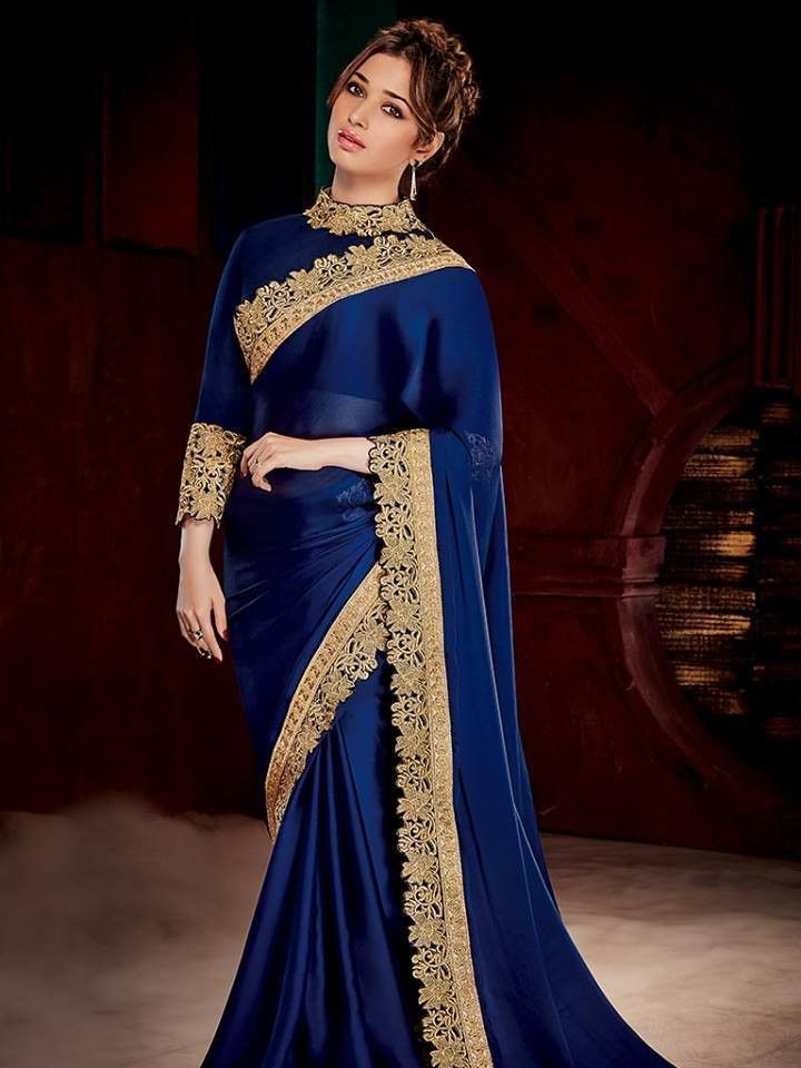 f6f2e91f6a90cd Navy Blue & Gold Coloured Beautiful Designer Saree. Navy Blue & Gold  Coloured Beautiful Designer Saree Saree Jackets, Saree Dress, Sari Blouse