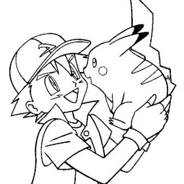 Ash Ketchum Care With Pikachu Coloring Page Pokemon Coloring