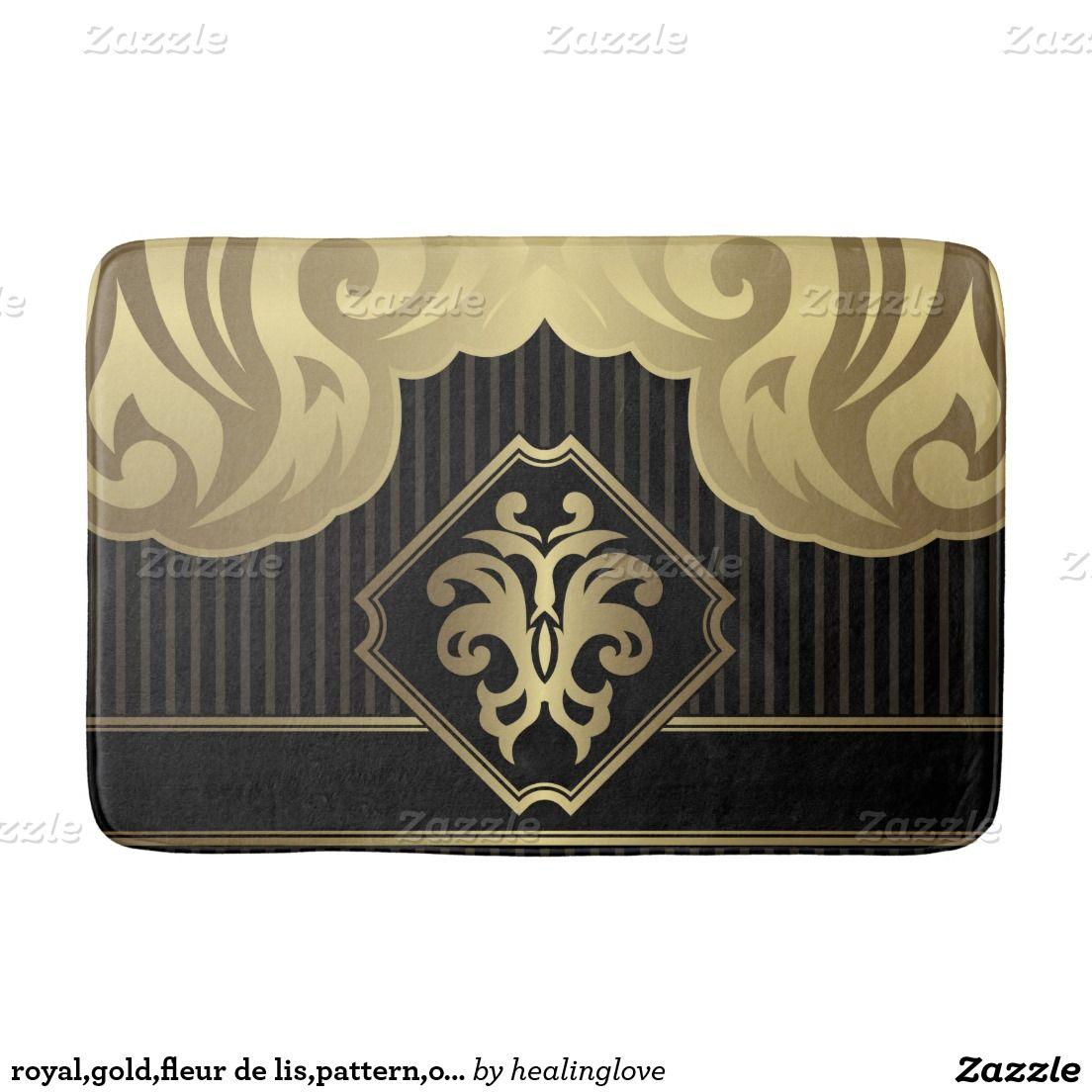 Royal Gold Fleur De Lis Pattern On Black Elegant V Bath Mats