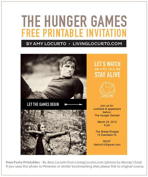 Free printable invitation for Hunger Games Party!