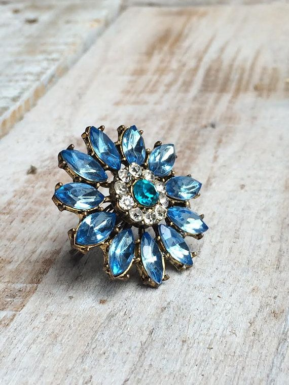 Blue Ring - Cluster Rings - Statement Jewelry - costume rings - cheap costume jewelry - Adjustable Ring