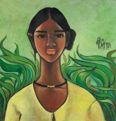 Prabha, B. (1933 Bela, Maharashtra/Indien - 2001 Nagpur). Ohne Titel (Portrait einer jungen Frau)