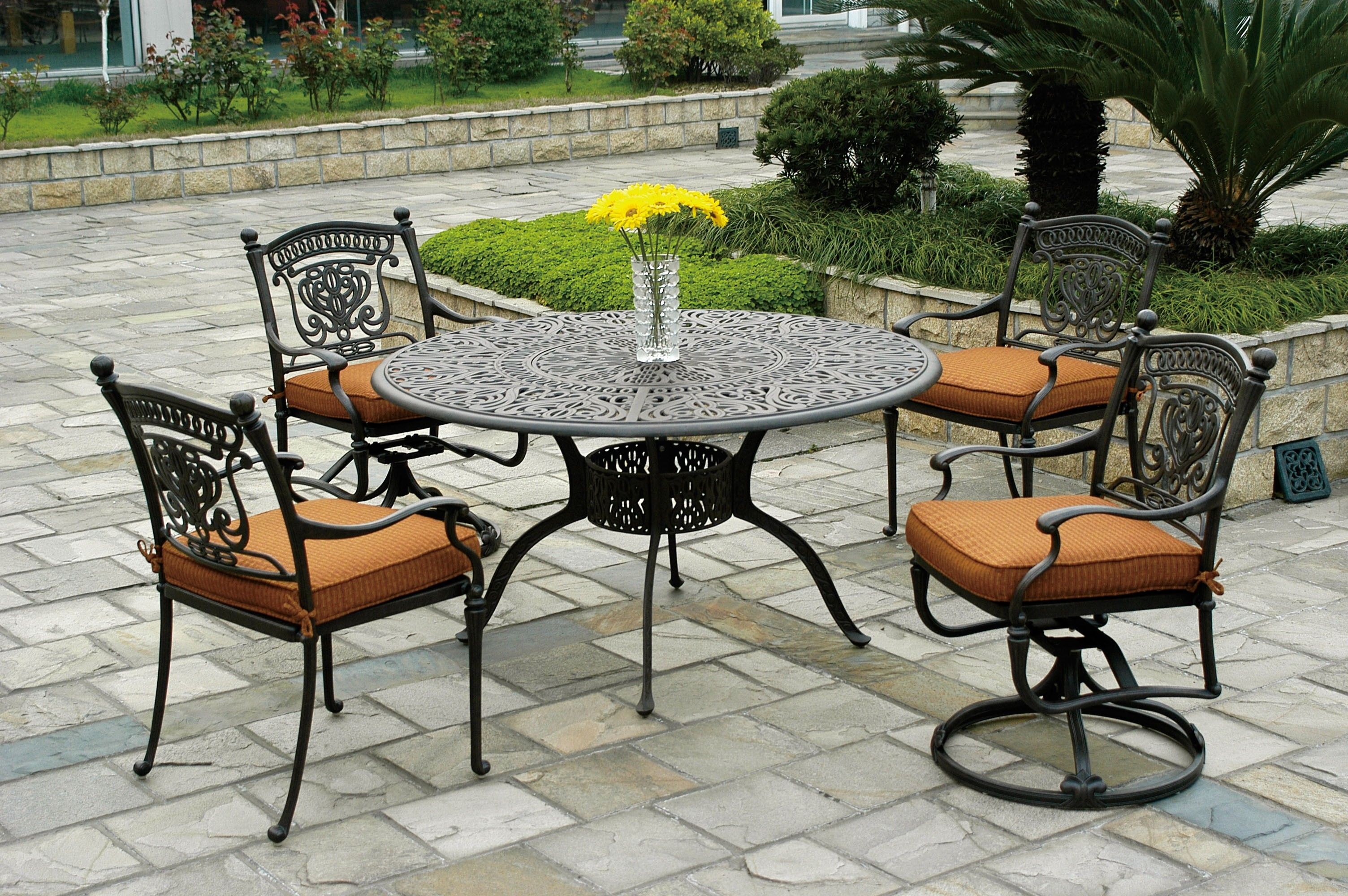 Hanamint 54 Quot Inlaid Lazy Susan Round Table And Patio