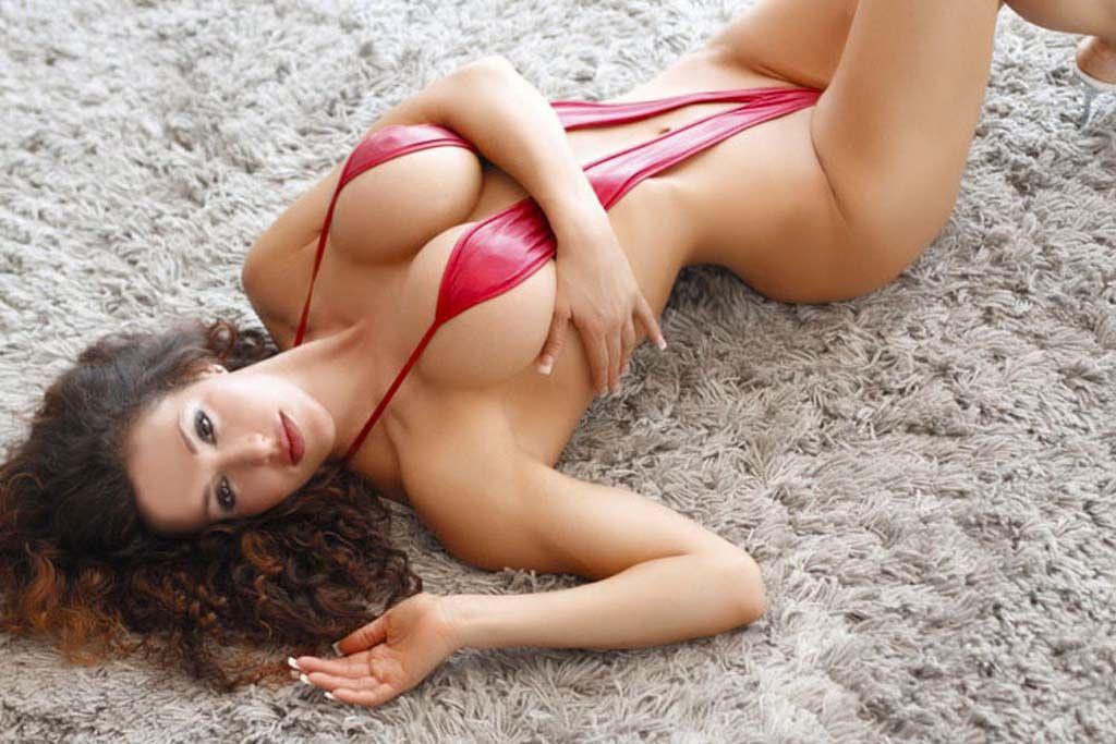 Naked redhead girls in sling bikinis nude look