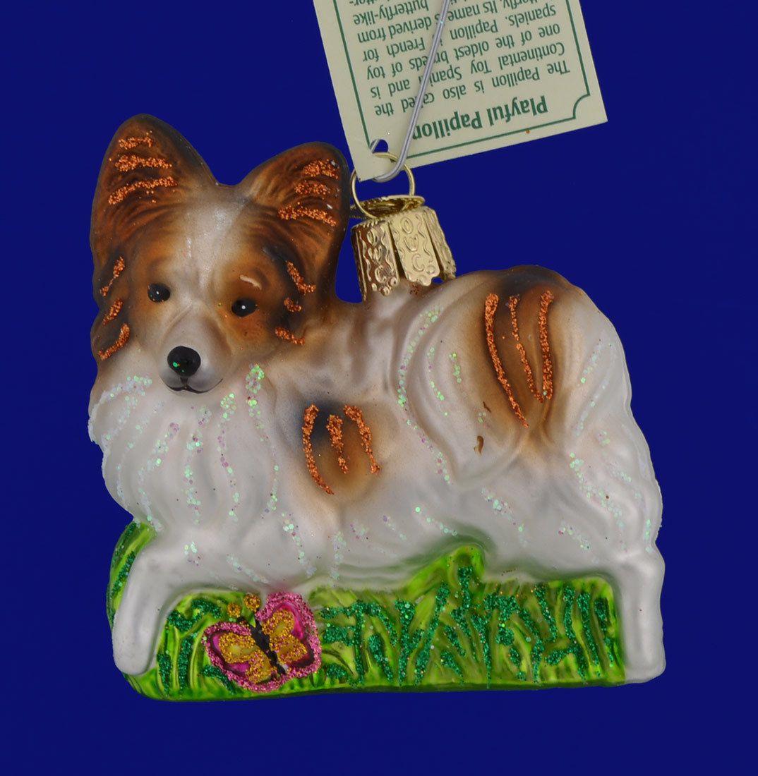 Art Blown Glass Figurine of the Papillon dog