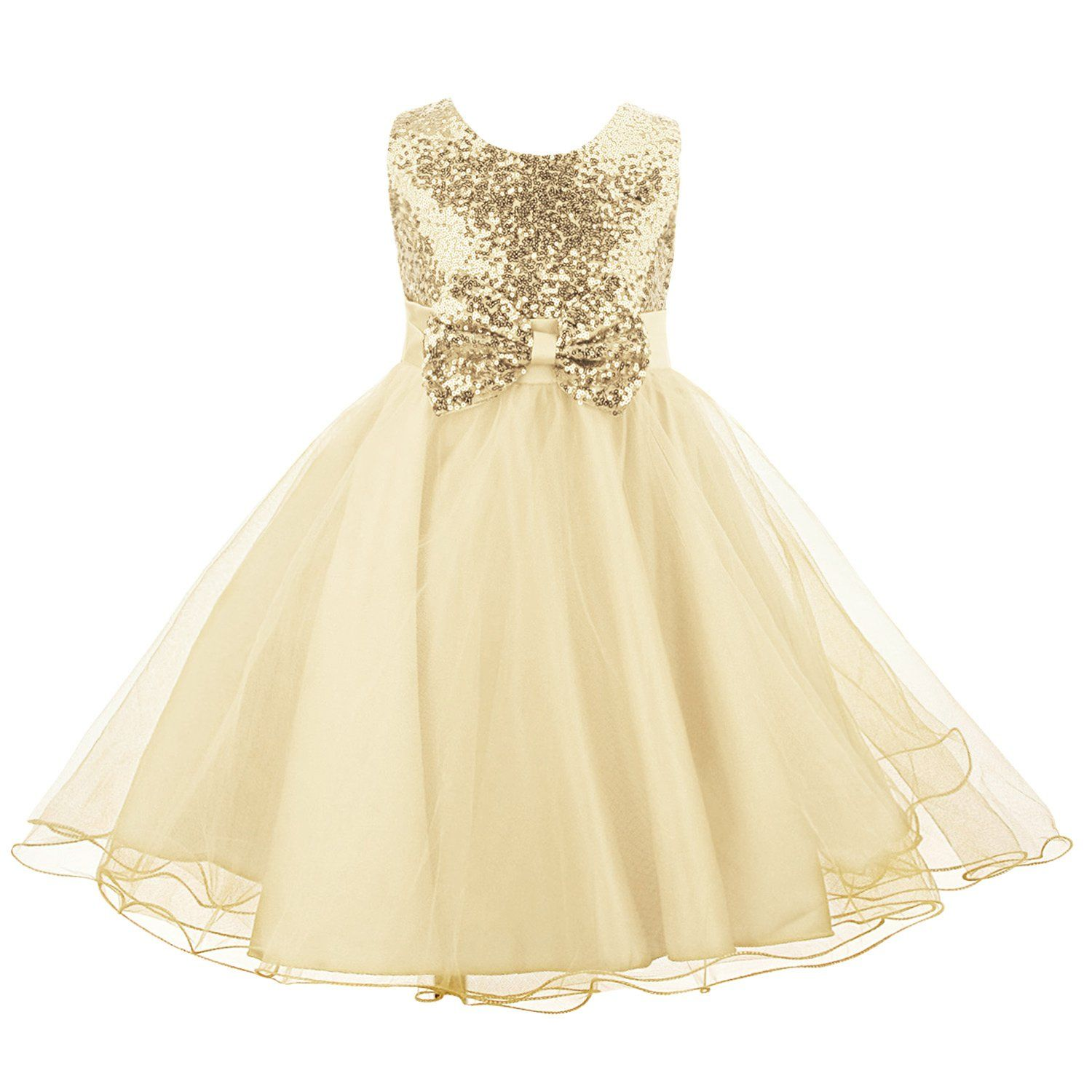 Little Girls/' Sequin Satin Tulle Wedding Pageant Flower Toddler Party Dress