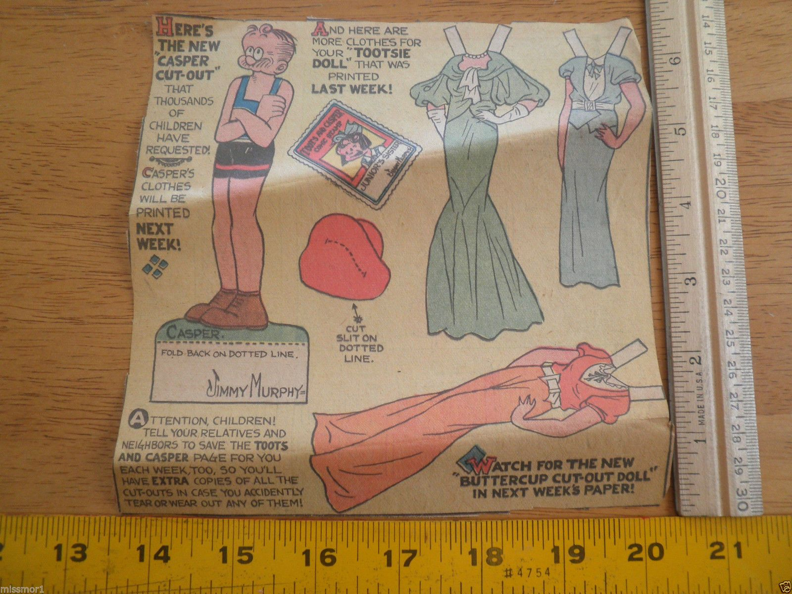 Toots land CASPER  Newspaper Paper Dolls 1932