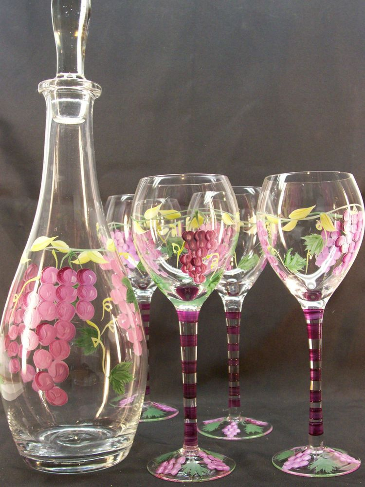Vintage Glass Wine Decanter Set 4 Glasses Stopper Hand Painted Grapes Pattern Vintage Glass Wine Decanter Painted Wine Glasses Wine Glass Set