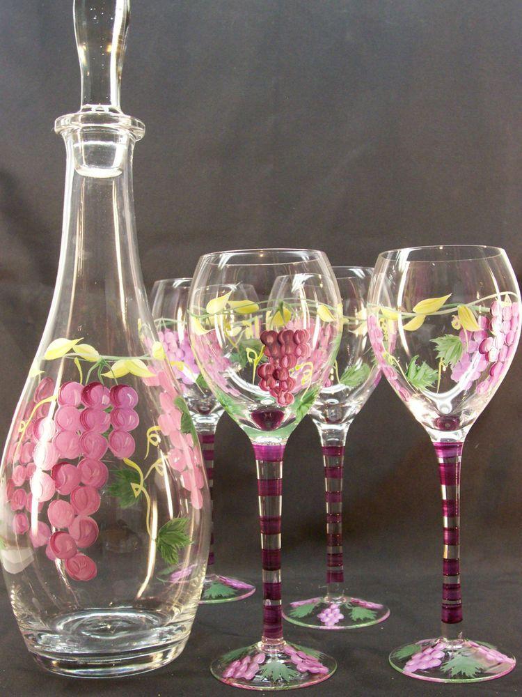 vintage glass wine decanter set 4 glasses stopper hand. Black Bedroom Furniture Sets. Home Design Ideas