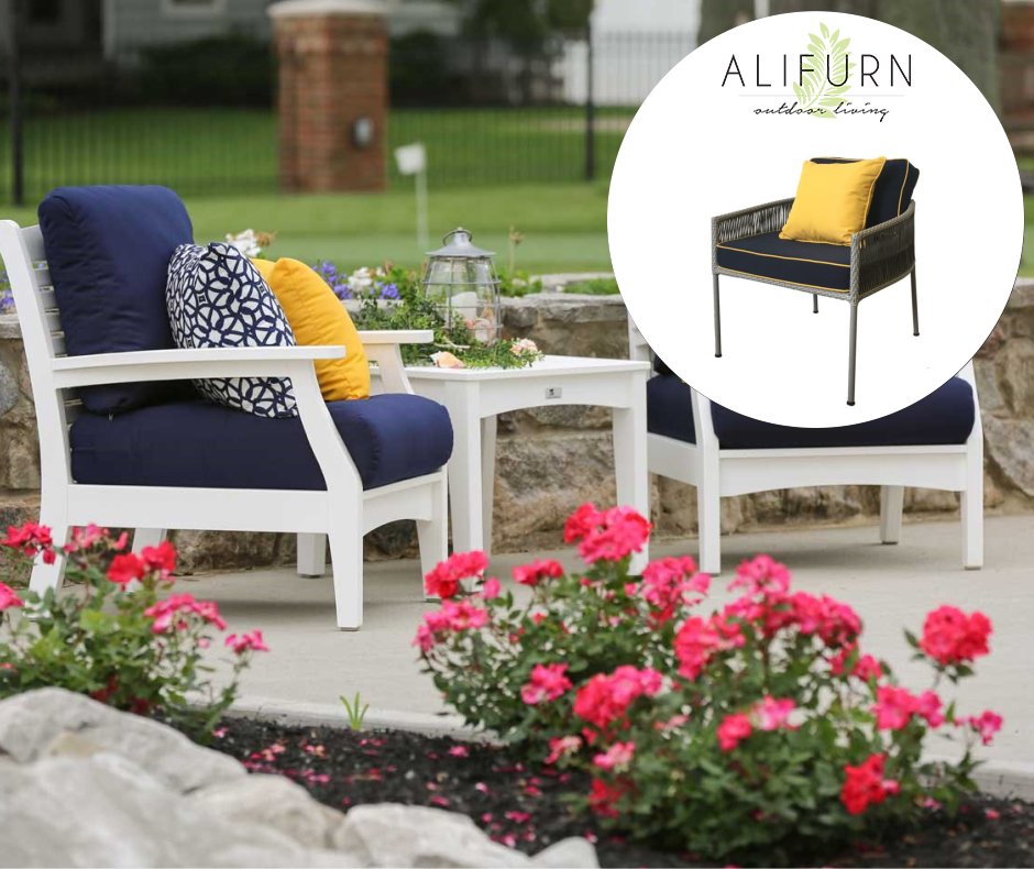 Dynamic Duo Sunny Yellow Perfectly Complements Cool Blue Adding Some Zing To Any Outdoor Space Recreate The Look Wit Outdoor Chairs Outdoor Space Home Decor