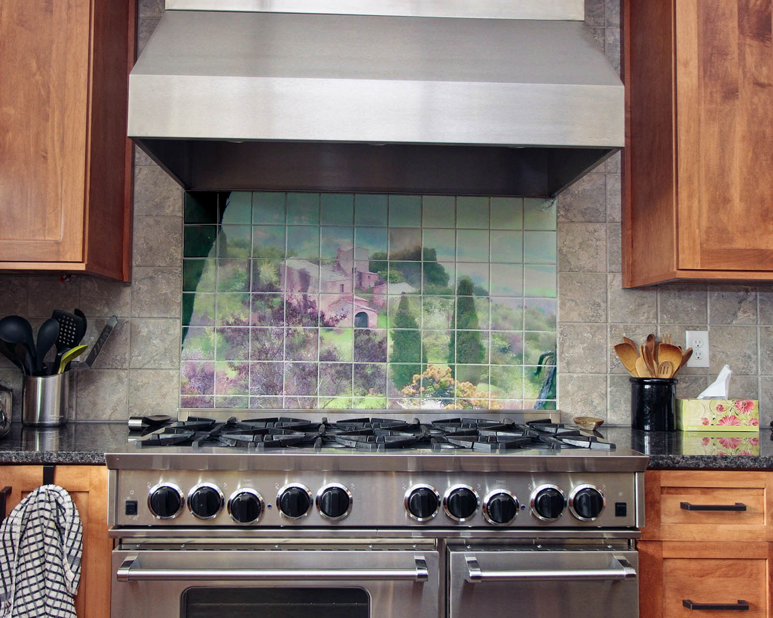 Custom tile mural backsplash from photograph of italian for Custom mural tiles