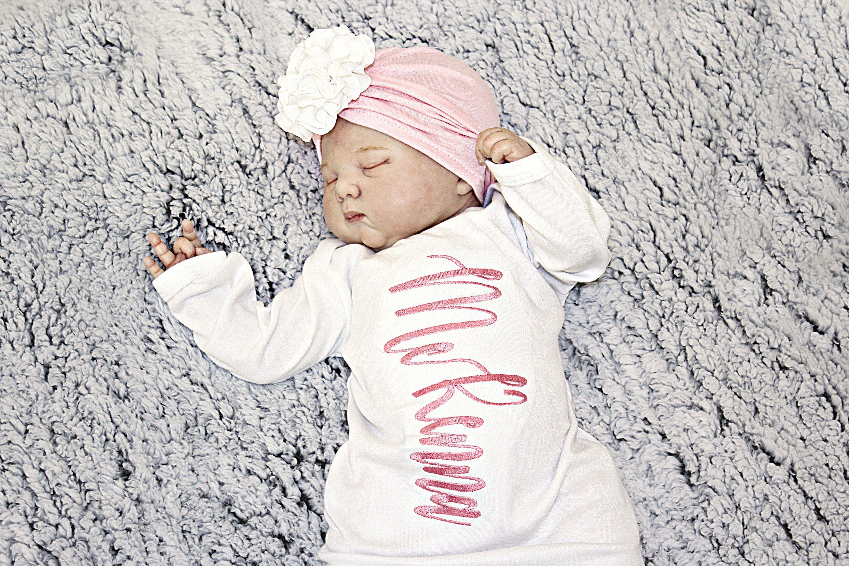 Newborn Girls Take Home Outfit  Newborn Girl Coming Home Outfit  Newborn Monogram Floral Outfit  Brand New Clothing Set  Preemie Outfi