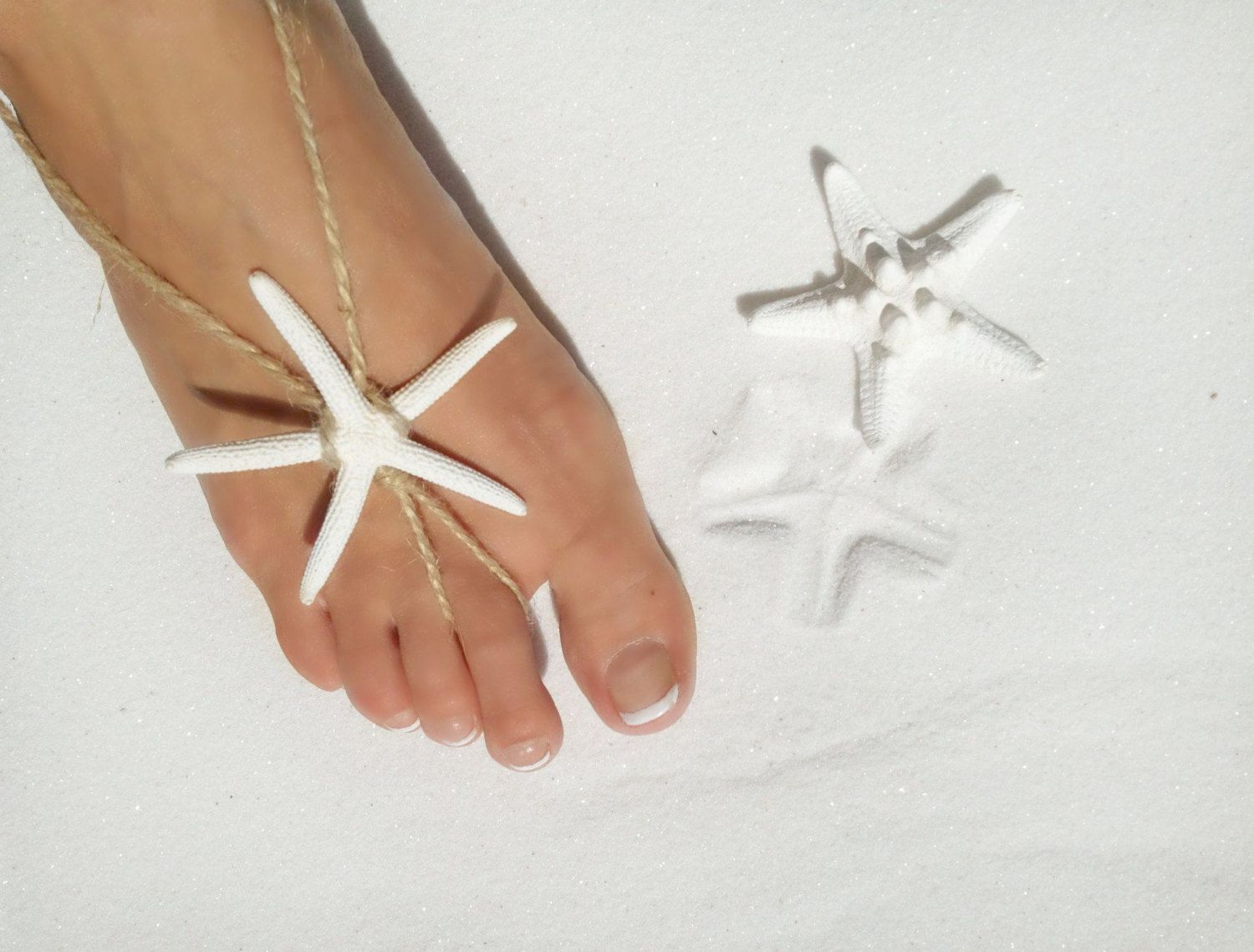 Starfish Barefoot sandals handmade beach wedding by TheBeachStar